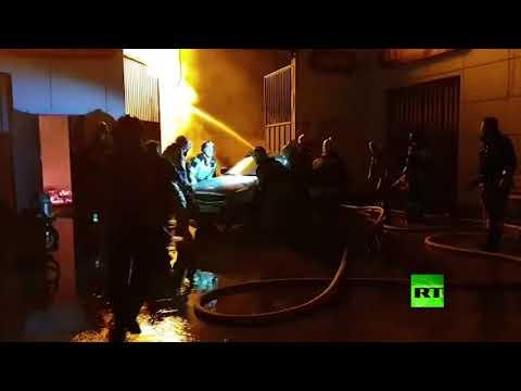 لقطات لمكافحة حريق اندلع في محطة وقود في الشيشان