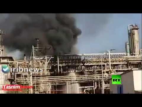 اندلاع حريق هائل في محطة البتروكيماويات في إيران
