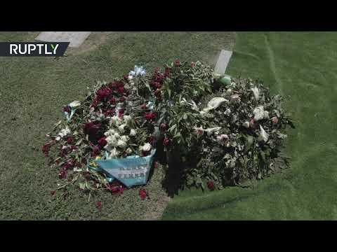 مشاهد جوية للمقبرة التي دفن فيها مارادونا